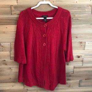 ⭐️ Lane Bryant Red Peacoat Sweater Size 22/24W ⭐️